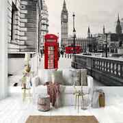 Red Phone Booth Full Wall Mural Photo Wallpaper Printing 3d Decor Kid Home