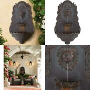 Lion Head Roman Outdoor Wall Water Fountain With Light 31 1/2 High 2 Tiered For
