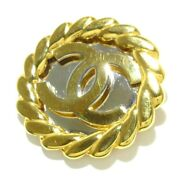 Auth Gold Silver Hardware Brooch