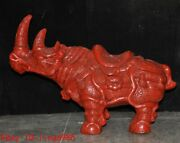 4.8and039chinese Lacquer Wood Hand-carved Auspicious Animal Cattle Rhinoceros Statue