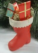 Vintage Red Plastic Santa Boot Stocking With Presents Christmas Ornament