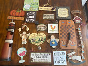 Lot 20 Country Kitchen Sign Lighthouse Barn Bunny Wood Block Checkerboard Angel