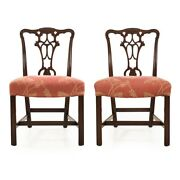 Pair Of George Iii Style Carved Mahogany Dining Chairs Early 20th Century