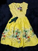 Pinup Couture Mary Blair Yellow Umbrellas Dress Xs New With Tags