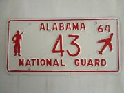 Nice 1964 Alabama National Guard License Plate Tag Two Digit