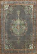 Antique Floral Traditional Area Rug Evenly Low Pile Handmade Wool Carpet 10x12