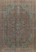 Antique Geometric Gray Traditional Area Rug Evenly Low Pile Handmade Wool 10x12