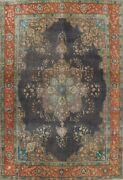 Antique Floral Traditional Area Rug Evenly Low Pile Charcoal Hand-knotted 10x13
