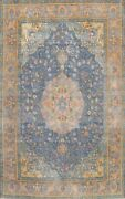 Antique Blue Floral Traditional Area Rug Evenly Low Pile Oriental Handmade 8x11