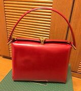 Very Rare Old Hand Bag For Woman Calf Red Vintage Nearly Unused Nice