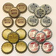 20 Vintage Soda Bottle Caps Cork Lined Up And Up Club Soda Root Beer Chocolate
