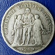 1874 A French Hercules Five Francs Silver Coin Great Condition Rare