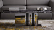 Zuri Nero Black And White Marble Coffee Table With Polished Stainless Steel Base