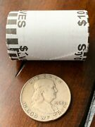 Unsearched Half Dollar Coin Roll With Bonus 90 Silver Franklin Half Dollar Coin
