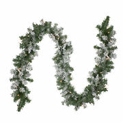 Northlight 9and039 X 10 Heavy Flocked Pine Artificial Christmas Garland Clear Light