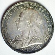 1896 Lix Great Britain Silver Crown Coin Victoria Ruler St George Slaying Dragon