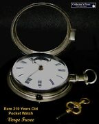 Rare Silver Pair Case English Verge Fusee Pocket Watch From1810 Working