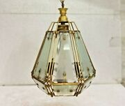 Old Vintage Rare Ceiling Hanging Electrical Glass / Brass Wire Lamp, Collectible