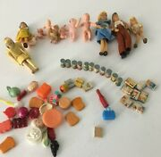 Lot Of Del-toi Vintage Tin Toy Food Cans, Books, Doll House, Etc 1950's