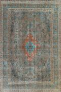 Antique Floral Traditional Area Rug Evenly Low Pile Handmade Oriental Wool 9x12
