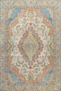 Antique Floral Traditional Area Rug Evenly Low Pile Ivory Hand-knotted 10x14 Ft