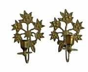 Brass Leaves Wall Hanging Sconce Pillar Candle Holder Set Of 2