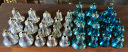 34 Vintage Christmas Bradford Plastic Bell Ornaments Blue And Silver