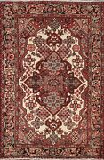 Semi-antique Geometric Ivory Traditional Oriental Area Rug Wool Hand-knotted 5x7