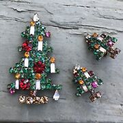 Weiss/eisenberg 6 Candle Christmas Tree Pin W/ Matching Christmas Tree Earrings