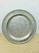 Antique Judaica Passover Seder Engraved Pewter Plate- Group Of Men At Table
