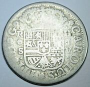 1760 Spanish Silver 2 Reales Genuine Antique Colonial 1700's Two Bit Pirate Coin