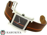 Hermes H1.510 Brown Dial Quartz Stainless Steel Menand039s Watch From Japan [b0503]
