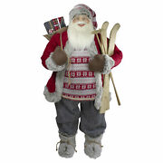 Northlight 4ft Standing Santa Christmas Figure With Skis And Fur Boots