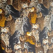 Vintage Flannel Owl Print Fabric Shamesh And Sons Remnant 30x73.5 + 7x13.5 Retro