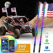 Ohmu 2pcs 3ft Bluetooth And Remote Control Led Whip Lights With Flag Pole 360...