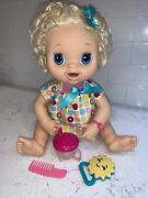 Baby Alive Hasbro 2010 Blonde Hair Doll Talks Drinks Goes Potty Works Cup Rattle