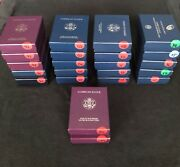22 Different Dated Lot Of American Eagle Silver Proofs Complete W/ Ogp + Coa