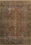 Antique Floral Traditional Area Rug Evenly Low Pile Oriental Wool Handmade 10x13