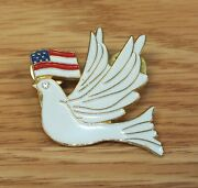 White Dove With Rhinestone Eye Holding American Flag Collectible Pin Lapel