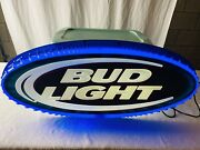 Bud Light Blue/white Neon Beer Sign Blue Plastic Cover Man Cave 35 X 15