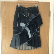 Dolce And Gabbana Denim Patchwork Ruffle Midi Skirt Sold Out Rrp£875 Nwt Uk 10/12