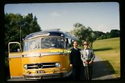 Men With Yellow Mercedes Viking Bus In Mid 1950's, Kodachrome Slide Aa 11-2b