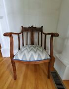 Local Pickup Antique Wood North Wind Face Occasional Chair Cushion Repair