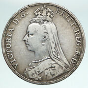 1889 Great Britain Uk Queen Victoria Saint George Horse Silver Crown Coin I90909
