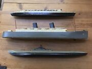 Antique Collection Of 3 Military Submarines Ships Models Toys Lead Handmade Wood
