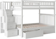 Columbia Staircase Bunk Bed With 2 Flat Panel Bed Drawers, White, Full Over Full