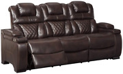 Signature Design By Ashley - Warnerton Casual Faux Leather Power Reclining Sofa