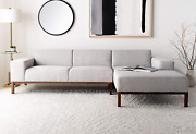 Safavieh Couture Home Dove Mid-century Modern Light Grey And Dark Brown Sectiona