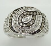 14k White Gold Wide Anniversary Band With Champagne And White Diamonds 1744