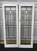 2 Antique Stained Leaded Glass Doors Pantry Or Library Bookcase